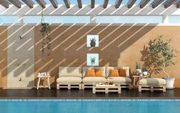 Κήπος ενός θερινού σπιτιού με τη λίμνη διανυσματική απεικόνιση