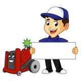 Καθαριστής ή τεχνικός Hvac με το σημάδι λαβής rotobrush διανυσματική απεικόνιση
