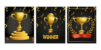 Καθορισμένα βραβεία φλυτζανιών με το κομφετί για να υπερασπιστεί τον εορτασμό απεικόνιση αποθεμάτων