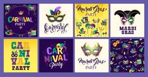 Καθορισμένα εικονίδια της Mardi Gras καρναβάλι, στοιχείο σχεδίου ελεύθερη απεικόνιση δικαιώματος