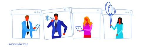 Καθορισμένος διαφορετικός θέτει businesspeople τους εργαζομένους γραφείων που απασχολούνται στο άνδρα-γυναίκας σκίτσο πορτρέτου χ απεικόνιση αποθεμάτων