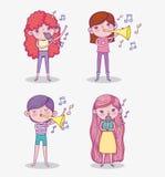 Καθορισμένο όργανο και τραγούδι σαλπίγγων παιχνιδιού κοριτσιών ομορφιάς απεικόνιση αποθεμάτων