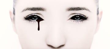 Κακά μαύρα αλλοδαπά βαμπίρ ή zombie μάτια Κλείστε αυξημένος στοκ φωτογραφία με δικαίωμα ελεύθερης χρήσης