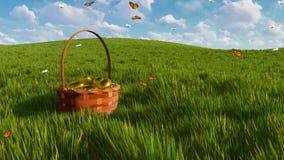 Καλάθι με τα αυγά Πάσχας στη χλόη και τις πεταλούδες απόθεμα βίντεο