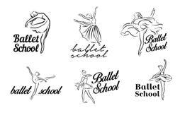 Καλλιτεχνικό συρμένο χέρι σύνολο εικόνων θέματος θεάτρων Χορός Ballerinas Ο χορευτής Ballerina με το tutu, θέτει τη γυναίκα στο μ ελεύθερη απεικόνιση δικαιώματος