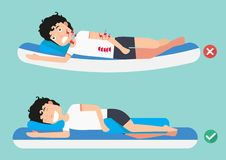 Καλύτερες και χειρότερες θέσεις για τον ύπνο διανυσματική απεικόνιση