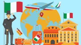 Καλωσορίστε στην κάρτα της Ιταλίας Έννοια ταξιδιού και σαφάρι της διανυσματικής απεικόνισης παγκόσμιων χαρτών της Ευρώπης με τη ε διανυσματική απεικόνιση