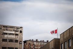 Καναδική σημαία που παραμερίζει μπροστά από μια παλαιά βιομηχανική ζώνη φιαγμένη από εγκαταλειμμένες σιλό, εργοστάσια και αποθήκε στοκ εικόνες με δικαίωμα ελεύθερης χρήσης