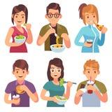 Κατανάλωση ανθρώπων Φάτε τους πίνοντας τροφίμων ανδρών γυναικών υγιείς νόστιμους πιάτων γευμάτων πεινασμένους φίλους μεσημεριανού διανυσματική απεικόνιση