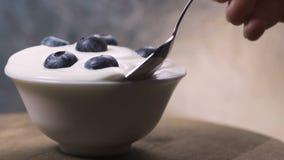 Κατανάλωση των βακκινίων με την κρέμα ή το γιαούρτι από το κουτάλι, υπόβαθρο φρούτων απόθεμα βίντεο