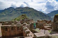 Καταστροφές του ναού του ήλιου σε Pisac στην ιερή κοιλάδα στοκ εικόνα