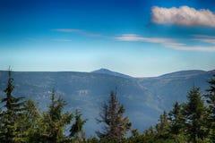 Καταπληκτική άποψη Snezka σε Medvedin στα γιγαντιαία βουνά στην Τσεχία στοκ εικόνα με δικαίωμα ελεύθερης χρήσης