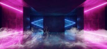 Καπνός και ομίχλη σκοτεινό συγκεκριμένο Grunge φω'των υπεριώδους καμμένος πορφυροί μπλε Cyber Sci Fi νέου φουτουριστικοί διαμορφω διανυσματική απεικόνιση