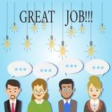 Κείμενο γραψίματος λέξης μεγάλη εργασία Επιχειρησιακή έννοια για την άριστη φιλοφρόνηση αποτελεσμάτων εργασίας καλοψημένη καλή απεικόνιση αποθεμάτων