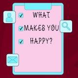 Κείμενο γραψίματος λέξης τι σας κάνει Happyquestion Η επιχειρησιακή έννοια για την ευτυχία έρχεται με την αγάπη και τη θετική ζωή απεικόνιση αποθεμάτων