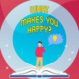 Κείμενο γραψίματος λέξης τι σας κάνει Happyquestion Η επιχειρησιακή έννοια για την ευτυχία έρχεται με την αγάπη και τη θετική ζωή ελεύθερη απεικόνιση δικαιώματος