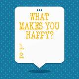 Κείμενο γραφής τι σας κάνει Happyquestion Η έννοια που σημαίνει την ευτυχία έρχεται με την αγάπη και τη θετική ζωή απεικόνιση αποθεμάτων