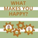 Κείμενο γραφής τι σας κάνει Happyquestion Η έννοια που σημαίνει την ευτυχία έρχεται με την αγάπη και τη θετική ζωή ελεύθερη απεικόνιση δικαιώματος