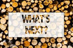 Κείμενο γραφής ποιο S Nextquestion Έννοια που σημαίνει μετά από την καθοδήγηση βημάτων για να συνεχίσει ή ξύλινη στοκ εικόνες