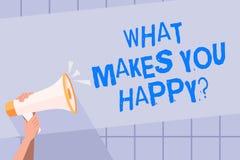 Κείμενο γραφής που γράφει τι σας κάνει Happyquestion Η έννοια που σημαίνει την ευτυχία έρχεται με την αγάπη και τη θετική ζωή διανυσματική απεικόνιση