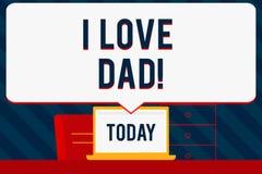 Κείμενο γραφής που γράφει τον μπαμπά αγάπης Ι Έννοια που σημαίνει τα καλά συναισθήματα για την ευτυχία αγάπης αγάπης πατέρων μου διανυσματική απεικόνιση