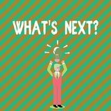 Κείμενο γραφής που γράφει ποιο S Nextquestion Έννοια που σημαίνει μετά από την καθοδήγηση βημάτων για να συνεχίσει ή διανυσματική απεικόνιση
