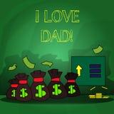 Κείμενο Ι γραψίματος λέξης μπαμπάς αγάπης Επιχειρησιακή έννοια για τα καλά συναισθήματα για την ευτυχία αγάπης αγάπης πατέρων μου διανυσματική απεικόνιση