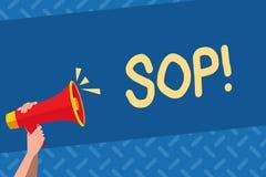 Κείμενο Sop γραφής Έννοια που σημαίνει τις τυποποιημένες οδηγίες κανόνων λειτουργικής διαδικασίας στοκ εικόνες