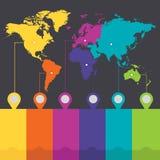 Κενό χρωμάτων Infographics παγκόσμιων ηπείρων απεικόνιση αποθεμάτων