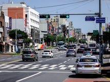 Κεντρικός δρόμος του νησιού Jeju, Νότια Κορέα στοκ εικόνες