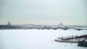 Κεραία άποψης πόλεων Άγιος-Πετρούπολη στο χειμώνα απόθεμα βίντεο