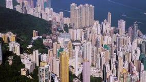 Κεραία πόλεων Χονγκ Κονγκ Όμορφος σαφής μπλε ουρανός απόθεμα βίντεο