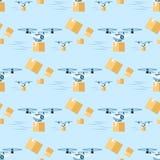 Κηφήνας αέρα παράδοσης που πετά με το σχέδιο συσκευασίας ελεύθερη απεικόνιση δικαιώματος