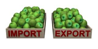 Κιβώτια με τα πράσινα μήλα με την εισαγωγή-εξαγωγή κειμένων διανυσματική απεικόνιση