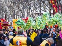Κινεζικό νέο έτος 2019 Παρίσι Γαλλία - χορός δράκων στοκ φωτογραφίες με δικαίωμα ελεύθερης χρήσης