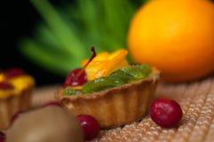 Κινηματογράφηση σε πρώτο πλάνο κέικ φρούτων στοκ εικόνες με δικαίωμα ελεύθερης χρήσης