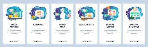 Κινητές app onboarding οθόνες Επιχείρηση, ανάσυρση δεδομένων, χάρτης μυαλού και ταξινόμηση Διανυσματικό πρότυπο εμβλημάτων επιλογ απεικόνιση αποθεμάτων