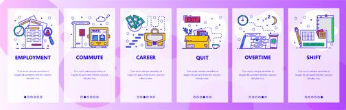 Κινητές app onboarding οθόνες Σταδιοδρομία εργασίας, απασχόληση, σκάλα σταδιοδρομίας, υπερωρίες και μετατόπιση εργασίας Διανυσματ απεικόνιση αποθεμάτων