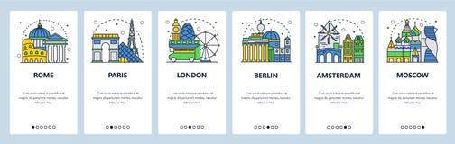 Κινητές app onboarding οθόνες Τουρίστας που επισκέπτεται, ορόσημα πόλεων της Ευρώπης, ταξίδι Ευρώπη Διανυσματικό πρότυπο εμβλημάτ διανυσματική απεικόνιση