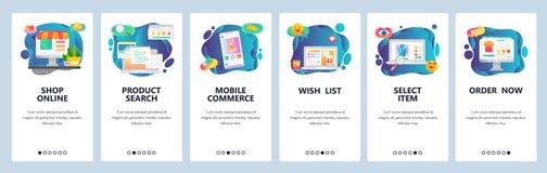 Κινητές app onboarding οθόνες On-line ψωνίζοντας, κατάστημα Διαδικτύου, κινητό ηλεκτρονικό εμπόριο Διανυσματικό πρότυπο εμβλημάτω απεικόνιση αποθεμάτων