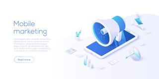 Κινητή διανυσματική επιχειρησιακή απεικόνιση μάρκετινγκ στο isometric σχέδιο Σε απευθείας σύνδεση έννοια προώθησης Διαδικτύου με  ελεύθερη απεικόνιση δικαιώματος