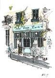 Κλασική γαλλική είσοδος καφέδων στην οδό στο Παρίσι στοκ φωτογραφίες με δικαίωμα ελεύθερης χρήσης