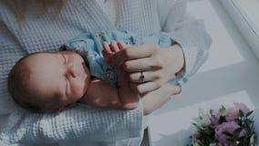 κλείστε επάνω Ένα λατρευτό μικρό νεογέννητο μωρό είναι κοιμισμένο στα όπλα της μητέρας της Γλυκός ύπνος παιδιών απόθεμα βίντεο