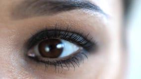 Κλείστε επάνω το θηλυκό πρόσωπο με το καφετί μάτι που κλείνει το μάτι και που εξετάζει τη κάμερα Όμορφη σύνθεση ματιών γυναικών κ φιλμ μικρού μήκους