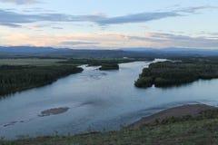 Κοιλάδα ποταμών Yenisei, νότια Σιβηρία Δημοκρατία της Τουβά Τοπίο φθινοπώρου στοκ φωτογραφίες
