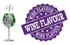 Κολάζ γεύσης κρασιού των μπουκαλιών κρασιού και του σταφυλιού και του γραμματοσήμου Grunge διανυσματική απεικόνιση