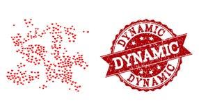 Κολάζ καρδιών βαλεντίνων του εικονιδίου σμήνων μορίων και του υδατοσήμου Grunge διανυσματική απεικόνιση