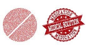 Κολάζ καρδιών βαλεντίνων του εικονιδίου ταμπλετών φαρμάκων και του υδατοσήμου Grunge απεικόνιση αποθεμάτων