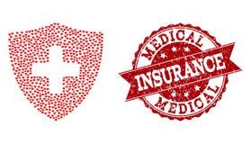 Κολάζ καρδιών βαλεντίνων του ιατρικού εικονιδίου ασπίδων και του λαστιχένιου υδατοσήμου ελεύθερη απεικόνιση δικαιώματος