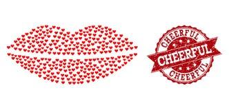 Κολάζ καρδιών βαλεντίνων του χειλικού εικονιδίου χαμόγελου και του γραμματοσήμου Grunge διανυσματική απεικόνιση